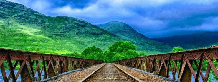 train tracks and mountain